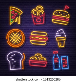 fast food neon signboard icons vector design