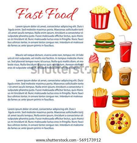 Fast Food Nutrition Information Poster Junk Stock Vector Royalty