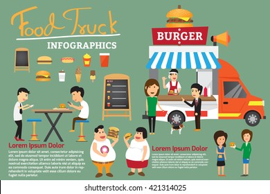 fast food on truck small business concept infographics elements. vector illustration.