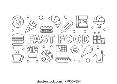 Fast food outline horizontal banner. Vector junk food illustration in thin line style