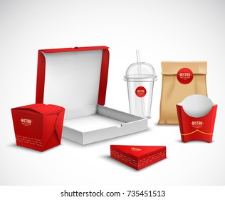 Fast food packaging corporate identity realistic templates samples set red white natural with pizza box vector illustration