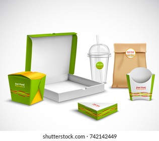 Fast food packaging corporate identity realistic templates samples set with vibrant green-white  pizza box vector illustration