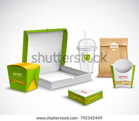 Fast Food Packaging Corporate Identity Realistic Stock Vector ...