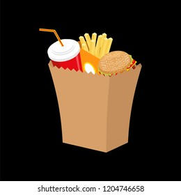 Fast food paper bag isolated. Vector illustration