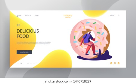 Fast Food, Pastry Website Landing Page, Tiny Man Sitting on Huge Donut, Bakery, Sweet Treat, Confectionery, Fastfood Outdoor Street Party, City Fest Web Page. Cartoon Flat Vector Illustration, Banner