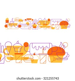 Fast food pattern and background, cafe menu decoration. Hot-dog, cupcake, coffee cup, tea and drinks, snacks icon set vector linear design illustration
