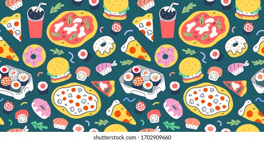 Fast food pattern with doodle food illustrations. Seamless vector background, italian pizza, sushi rolls,burgers and donuts, slices of pepperoni and margherita, trendy cartoon, vector texture