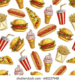 Fast food pattern of sandwich, burger and cheeseburger, pizza slice with french fries, hot dog, soda drink and ice cream dessert, popcorn, donuts. Vector seamless background with fast food meal