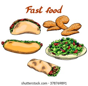 Fast food. Pita, fried chicken wings, hot dog, vegetable salad, wrap. Isolated set