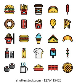 fast food pixel perfect color line icons, vector line editable stroke