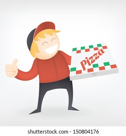 fast food pizza delivery man smile