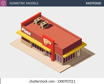 Fast Food or Pizzerie Building with Sale Sign Board. Vector Isometric Illustration.