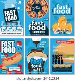 Fast Food Placard Template Set - Vector Illustration, Graphic Design, Editable For Your Design