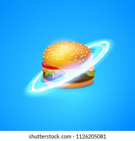 Fast food Planet. Beautiful Burger with Glossy Rings. Style vector illustration, EPS 10.