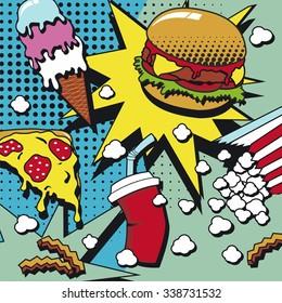 Fast food. Pop art style. Vector illustration.
