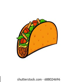 Fast food pop art style taco patch badge. Vector sticker, pin, patch, illustration in cartoon 80s-90s comic style