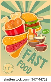 Fast Food poster - Burgers, Hot Dog and Chicken Advertising in Retro Style. Vector Illustration.