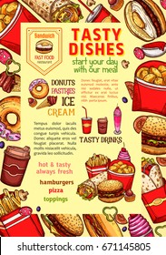 Fast food poster of daily meals and fastfood dishes. Vector sandwich and snacks of french fries, cheeseburger and ice cream or donut cake dessert, hot dog or pizza and grilled chicken wings or nuggets