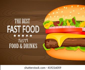 Fast food poster design.Vector illustration of burger ,Fast food menu template or banner