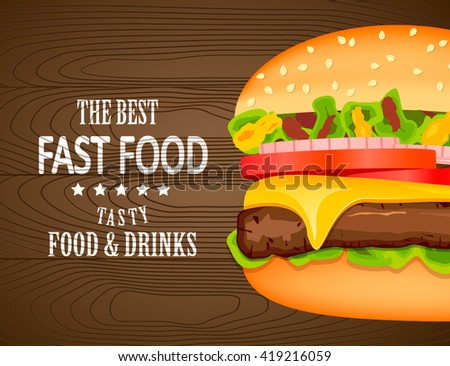 Fast Food Poster Design Vector Illustration Burger Stock Vector
