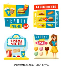 Fast food posters for cinema bar or fastfood cafe bistro. Vector flat design of woman girl with ice cream pizza delivery, burger or sandwich and hot dog or popcorn combo and Mexican burrito or taco
