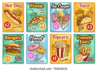 Fast food posters sketch design for fastfood restaurant or bistro menu template. Vector pizza, cheeseburger burger or hot dog sandwich and taco or burrito, donut or fries and coffee or soda drink