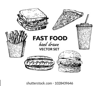 Fast Food realistic sketches. Hand drawn. Burgers, hot dogs, sandwiches, dinners, pizzas, French fries