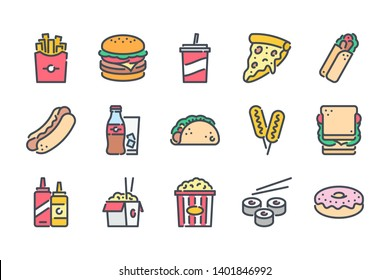Fast food related color line icon set. Street food colorful linear icons. Burger, hotdog and sandwich flat color outline vector signs and symbols collection.