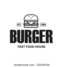 Fast food restaurant, cafe logotype template, layout.  Vector design element.