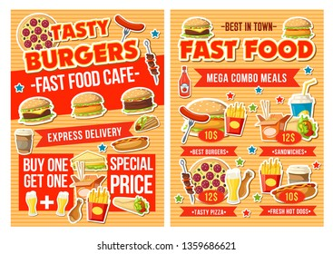 Fast food restaurant combo meal menu vector design with special offer of burger, snack and drink. Hamburger, pizza and hot dog, sandwich, fries and soda, chicken, taco and coffee. Food delivery flyer