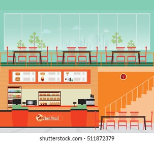 Fast food restaurant interior with hamburger and beverage, food and drink flat design vector illustration.