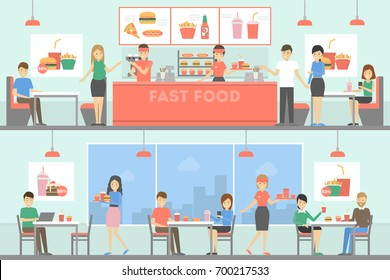 Fast food restaurant interior set with people. Selling and buying burgers, fries and drinks.