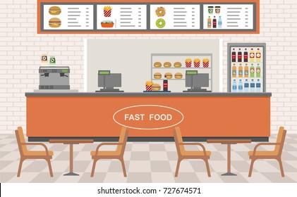 Fast food restaurant interior. Vector illustration. Flat design.