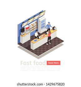 Fast food restaurant isometric composition with service staff in uniform at cash register and woman ordering eating vector illustration