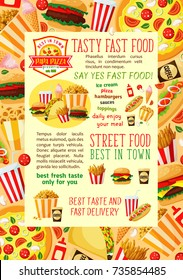 Fast food restaurant lunch dishes banner. Fastfood hamburger, hot dog, soda, french fries, coffee, pizza, cheeseburger, ice cream, popcorn, onion rings and taco with ingredients vector poster.