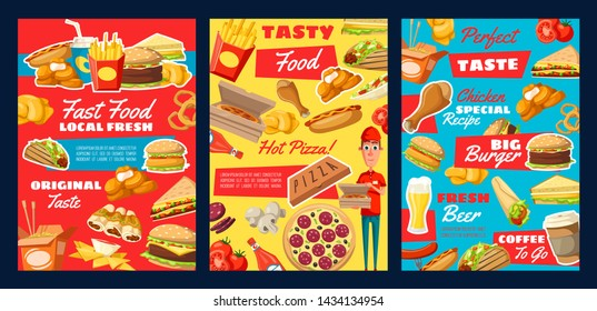Fast food restaurant meal and drink menu vector posters. Hamburger, pizza and fries, hot dog, cheese sandwich and chicken nuggets, coffee, Mexican tacos and Chinese noodle with fresh ingredients