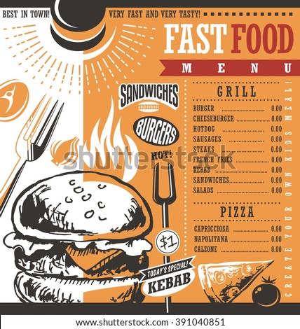 Fast Food Restaurant Menu Design Idea Retro Price List For Diner Or Snack Bar