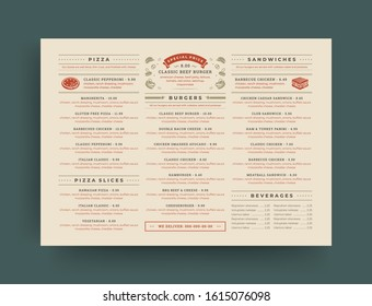 Fast food restaurant menu layout design brochure or flyer template vector illustration. Pizzeria logo with vintage typographic decoration elements and fast food graphics.