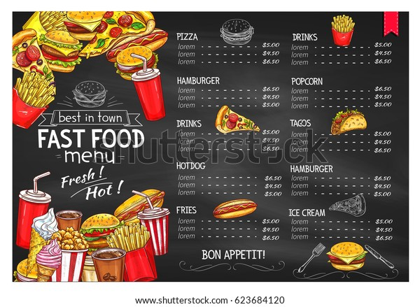 Fast food restaurant menu. Price design cover for fastfood burgers meals and french fries snacks, hot dog and pizza or barbecue chicken wings and nuggets, cheeseburger. popcorn and ice cream dessert