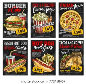 Fast food restaurant menu promo card with special price. Hamburger, hotdog and pizza with soda and coffee drink, french fries, mexican taco and popcorn sketch banner on chalkboard for fast food design