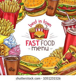 Fast food restaurant menu sketch design template for takeaway fastfood burgers or sandwiches, drinks or desserts and snacks. Vector combo meals hot dog and fries or coffee, pizza and chicken nuggets