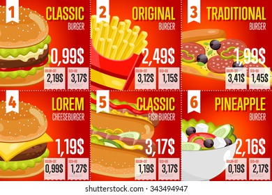 Fast food restaurant menu template vector illustration elements. Set of abstract advertising price tags about fast food meal. Six banners of fast food. Burger, fries, hot dog and pizza. Cafe menu.