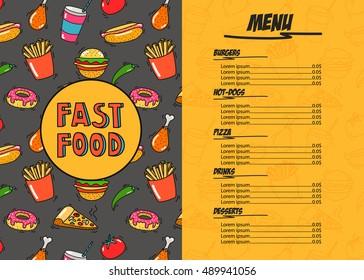 Fast Food Restaurant Menu Template Hand Drawn Doodle Illustration Burgers Pizza