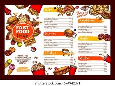 Fast food restaurant menu template. Lunch dishes and drinks list with prices and burger, pizza, hot dog, soda, fries, coffee, donut, taco, sandwich and ice cream sketches for folding brochure design