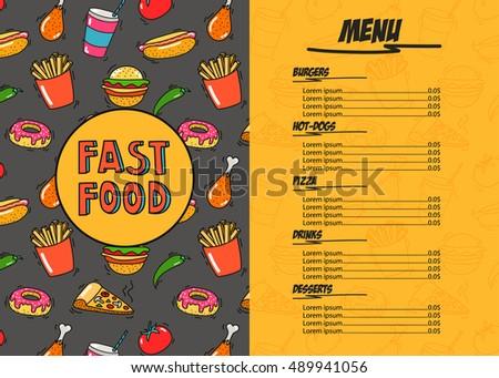 fast food restaurant menu template hand stock vector royalty free