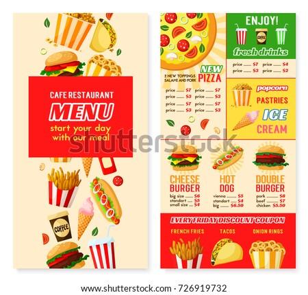Fast Food Restaurant Menu Template Burger Image Vectorielle De Stock