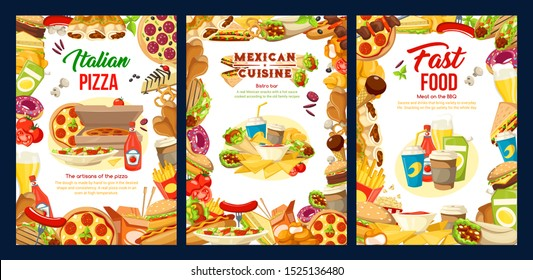 Fast food restaurant menu with vector frame of hamburger, pizza and fries, chicken nuggets, hot dog and soda, coffee, donut and tacos, ice cream, popcorn. American, Mexican and Italian cuisine design