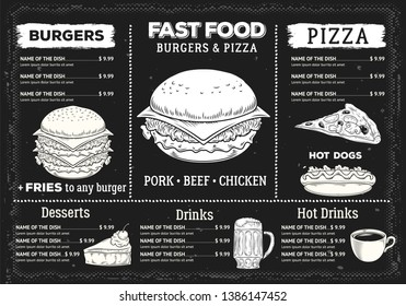 Fast food restaurant menu. Vintage style. Vector.