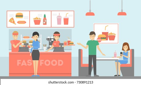 Fast food restaurant. People ordering food and eating. Cashier with menu.