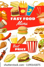 Fast food restaurant poster of meals, snacks, desserts and drinks. Vector menu for fastfood burgers, sauces and hamburgers, hot dog or sandwich and pizza with french fries pack, ice cream and donut